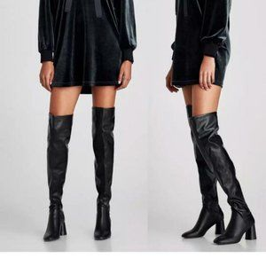 NWT Zara Black Over-the-knee High Boots